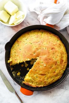 I love the crispy crust in this Jalapeño Cheddar Skillet Cornbread on foodiecrush.com #cornbread #jalapeño #cheddar