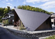 The roof of this Japanese house is modelled on the folded paper shapes of origami