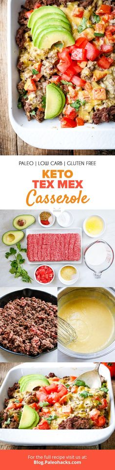 Skip the nachos and make this savory Keto Tex-Mex Casserole made with avocados, tomatoes, and grass-fed beef. Paleo Casserole Recipes, Paleo Keto Recipes, Healthy Low Carb Recipes, Casserole Dishes, Beef Recipes, Cooking Recipes, Paleo Diet, Paleo Meals, Diet Foods
