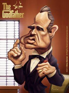 Caricature de Marlon Brando par Brice Mercier / Bubble Com.