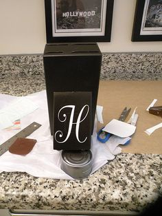 spray-painted knife block with vinyl monogram.  might have to try this.
