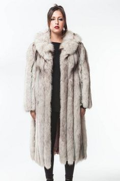 1970's VINTAGE BLUE FOX FUR Coat with Leather Inserts