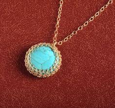 Round Turquoise Pendant necklace crochet 14K #jewelry #necklace @EtsyMktgTool http://etsy.me/2i7IYSZ