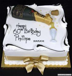Champagne Bottle  Cake Birthday Cake Wine, Square Birthday Cake, Champagne Birthday, Champagne Cake, Birthday Cakes For Men, Birthday Brunch, 80th Birthday, Cristal Champagne, Poker Cake