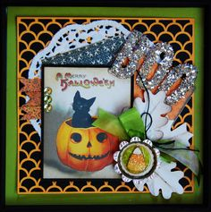 A Halloween Shadow box using images and papers from Crafty Secrets.