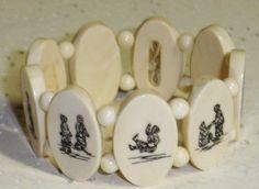 Vintage Native American Eskimo Inuit Pre Ban Walrus ivory Scrimshaw Stretch Bracelet.