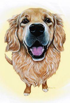 Golden Retriever Art Golden Retriever Print by ArtbyWeeze Golden Retriever Rescue, Retriever Puppy, Golden Retrievers, Dog Rates, Wow Art, Gif Animé, Dog Paintings, Dog Tattoos, Dog Portraits