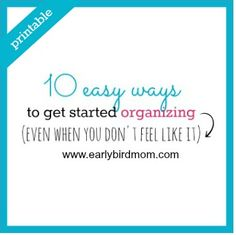 Getting started organizing may seem like a daunting job, especially if you are short on time or energy. Request this printable to help get you on track.