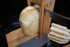 """1/8"""" to 1"""" Adjustable Slice Thickness Horizontal/Vertical 5 1/2"""" Loaf Width Oak Bread Slicing Guide Anti Slip Mat Oil Finish FREE SHIPPING Oak Lumber, Electric Knife, Lathe, Food Preparation, Food Grade, Mystery, Bread, Free Shipping, Timber Wood"""