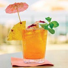 Mai Tai You need: 1/2 oz Fresh Orange Juice 1/2 oz Almond Syrup 1/2 oz fresh Lime juice 1/2 oz Sour mix 3 dashes Angostura bitters Maraschino cherry for garnish Crushed Ice