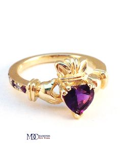 Claddagh Ring Heart Amethyst 14K Yellow Gold Ring with Amethyst & Diamonds