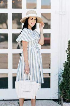 b00dac12f0 Blue   White Stripe Shirtdress + Suede Slide Sandals