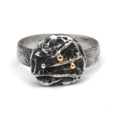 Sterling Silver Ring with 14 K Gold Ball accents Size 8 Heavily Textured and oxidized silver band Each Ring I make is individually crafted and