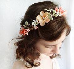 coral pink flower circlet, mint green wedding, cream bridal headpiece - BEATRIX - rustic hair wreath, flower girl, wedding accessories