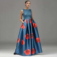 High-end Long Dress 2016 Summer UK Style New Arrival Innovative Sleeveless Big Swing Hollow Embroidery Print PU Luxury Dress