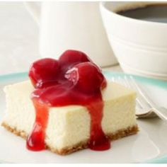 The iconic cherries on top of New York Cheesecake make these little desserts pop. Make cheesecake squares for your next gathering.