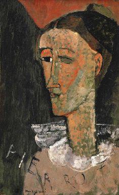 PIERROT OU AUTOPORTRAIT EN COSTUME DE PIERROT Picasso trouvait son double dans Arlequin. Modigliani se peint en Pierrot, poète lunaire, candide et inspiré Hommage à l'Italie éternelle Thème obsessionnel chez les peintres de l'Ecole de Paris ( Les Saltimbanques de Picasso )