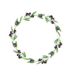 Watercolor olive branch wreath vector