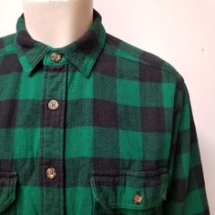 e6711445515 WOOLRICH Green Black 100% Cotton Buffalo Plaid Flannel Shirt Mens L 90s  Grunge #Woolrich