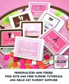 Personalized gum favors for your reception guests.  Check out this site for 1000's of flower ideas, free tutorials and buy cool wedding accessories.
