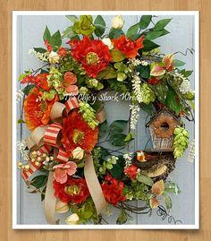 Spring Wreath, Grapevine Wreath, Coral Poppy Wreath, Woodsy, Birdhouse, Bird, Garden Chic, Rustic, Designer Wreath, Spring Decor, Handmade by TheChicyShackWreaths on Etsy