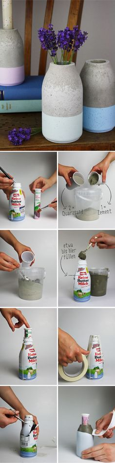 Pour a simple concrete vase in the form of a bottle yourself! Simple instructions on .Pour a simple concrete vase in the form of a bottle yourself! Simple instructions on my Count Personalized Vase Shape Party Favor Boxes Concrete Crafts, Concrete Projects, Concrete Lamp, Ideias Diy, Diy Home Decor Projects, Decor Crafts, Diy And Crafts, Simple Crafts, Felt Crafts