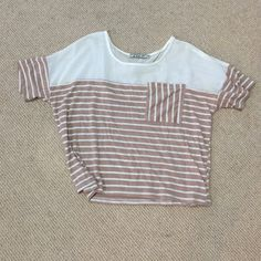 Nordstrom B.P. Tan Striped Shirt Lightweight, only worn once! Make an offer!  Nordstrom B.P.  Tops Tees - Short Sleeve