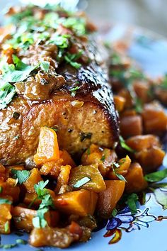 Peach Salsa Pork Roast with Sweet Potatoes: Perfectly done, fork-tender, moist, garlicky, pork roast with a pan sauce of slow-cooked sweet potatoes and peaches make up this company ready dish. And all this comes from your hand-dandy slow-cooker!