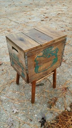 Crate & Old Barstool Base Repurposed into Rustic End Table