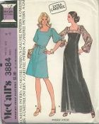 An unused original ca. 1973 McCall's pattern 3884.  Misses Dress:  Back zippered dress has lined yokes, long or elbow length puffed sleeves with elastic in casings. B has belt.