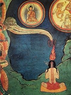 An artistic representation of the Buddhist path to enlightenment, the Lukhang murals. The powerful paintings that cover the wall were kept hidden behind silk curtains, invisible to all but the Dalai Lamas and their closest attendants. Tibetan Art, Tibetan Buddhism, Buddhist Quotes, Buddhist Art, Vajrayana Buddhism, Buddhist Practices, Green Landscape, True Art, 14th Century