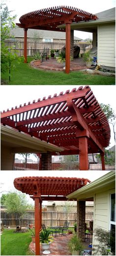 A curved hardwood pergola renovation attractive add charm to simple patio especially to the garden areas of the house. This use of redwood for the creation of pergola design over the red bricks made patio giving an outstanding effect as shown in the image below. It will stylishly embellish your outdoor space.