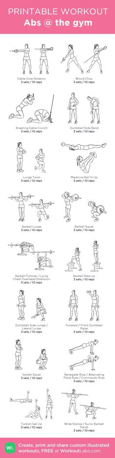 Abs @ the gym my custom workout created at WorkoutLabs.com  Click through to download as printable PDF! #customworkout