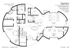 Floor Plan: DL-5205 | Monolithic Dome Institute |  Gemini Series dome home - 4,332 square feet - Four bedrooms - Three baths - Office