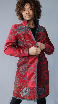 Charlotte Coat | Red Wine Hand made upholstery fabric art coat in red and teal florals