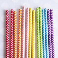 New! Rainbow Chevron Straws (Great paper party supplies here)