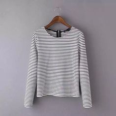 Women Striped Print T-shirts fashion 2016 back zippet O-Neck Outerwear lady basic casual long sleeve Brand Tops
