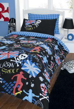 Boys black bedding - Urban Skater Double Duvet Covers, Single Duvet Cover, Bed Duvet Covers, Duvet Cover Sets, Bedroom Bed, Kids Bedroom, Bedrooms, Bedroom Ideas, Union Jack