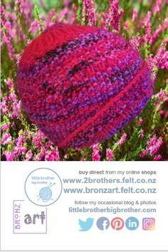 Knitted Hats, Crochet Hats, Moss Stitch, Z Arts, Main Colors, Magenta, Mauve, Hand Knitting, Beanie