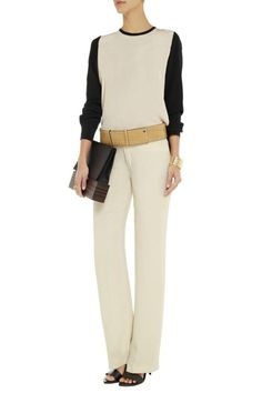 This colour-block blouse is perfect for work or play. It features long sleeves with button cuff sides and a crew neckline. Dry clean.   Louisa Silk Blouse by DVF. Clothing - Tops - Blouses & Shirts Clothing - Tops - Long Sleeve Canada