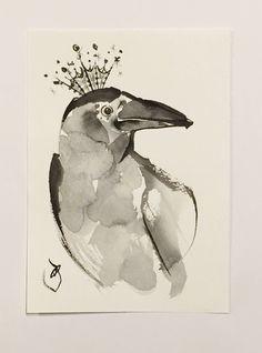 ink art Raven art Bird artillustration  Raven by ArtGalleryReina