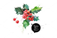 Christmas Watercolor Illustrations by Elena Pimonova on Creative Market