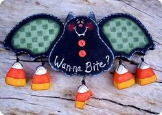WannaBite Bat Wall Hanging by CountryCharmers on Etsy, $14.00