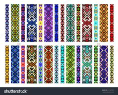 Trendy, Contemporary Ethnic Seamless Pattern, Embroidery Cross, Squares, Diamonds, Chevrons. Beads, Bracelet, Ribbon, Lace, Bead Weaving. Illustration vectorielle libre de droits 411547357 : Shutterstock
