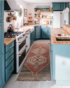 This Is How You Rock Blue Cabinets in the Kitchen cozy blue kitchen w. This Is How You Rock Blue Cabinets in the Kitchen cozy blue kitchen with butcher block countertops ideas Kitchen Inspirations, Blue Kitchens, Kitchen, Kitchen Design, Kitchen Remodel, Farmhouse Kitchen Decor, Blue Cabinets, Home Decor, Butcher Block Countertops