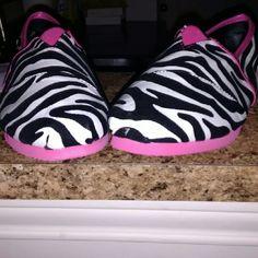 Cute never been worn slip ons Fun Zebra print slip ons Izzy  Shoes