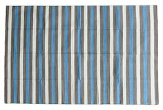 9'x12' Betha Flat-Weave Rug, Gray/Blue on OneKingsLane.com