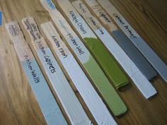 Use paint stick to stir paint and write down room to hold onto to so paint color is not lost years later when it needs a touch up. On the back maybe write the brand, finish, and paint chip name!