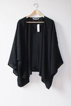 Black Long Sleeve Floral Print Kimono Cardigan by ShopVelvetMoon, $165.00