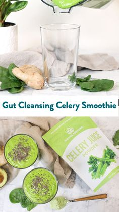 Get your gut health in order with this super tasty simple smoothie! Healthy Juices, Healthy Drinks, Healthy Snacks, Healthy Eating, Healthy Recipes, Superfood Recipes, Smoothie Recipes, Atkins, Celery Smoothie